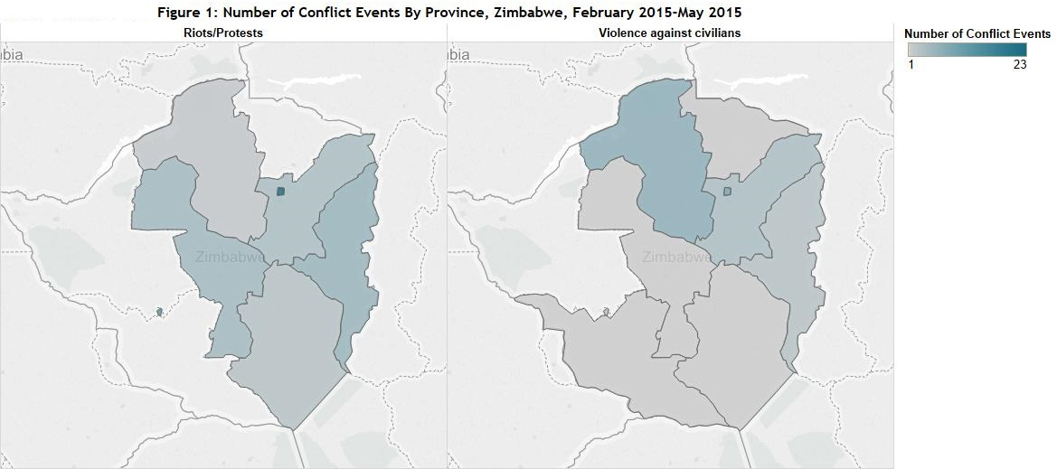 Figure 1 Number of Conflict Events By Province, Zimbabwe, February 2015-May 2015