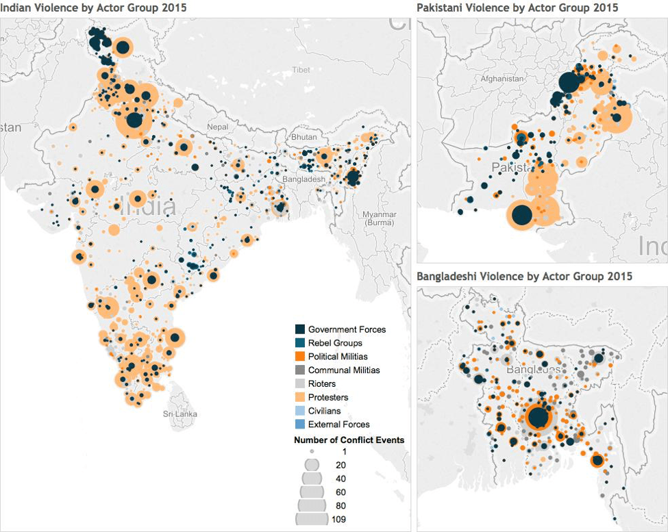 India, Pakistan, Bagladeshi Violence by Actor Group 2015