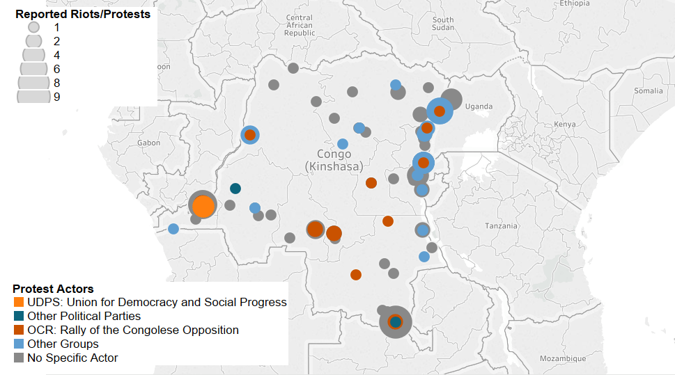 Figure 2: Number of Protest and Riot Events by Actor in Democratic Republic of Congo, January 2017 - August 2017