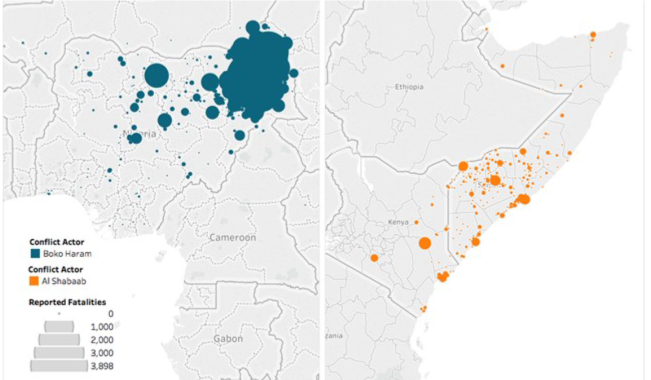 Figure 3: Reported Fatalities from Conflict Involving Al Shabaab and Boko Haram, August 2006 - September 2017